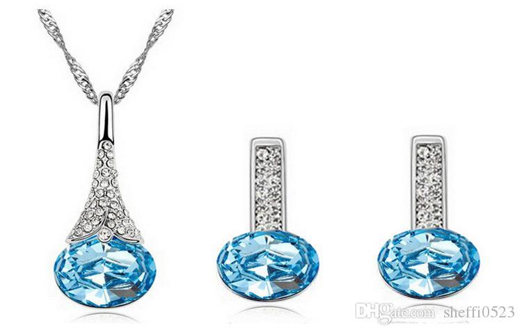 Austria collana di cristallo e orecchini set moda migliore qualità set di gioielli economici lega placcato argento fine jewelry set 1300