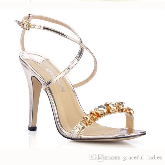 Gold Silver Crystal Wedding Shoes Ankle Sandals One Strap Summer Style Ladies Sandals Daily Ol Sandals For Brides Shoes Large Size 11