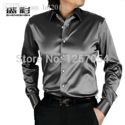 Wholesale-Men Silver Silk Shirt Men Senior Black Shiny Silk Satin ...
