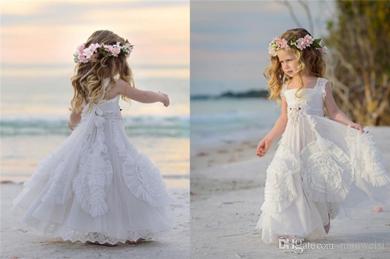 웨딩 광장 목에 대 한 저렴 한 흰 꽃 걸스 드레스 applique 구슬 아이 공식적인 복장 민소매 비치 소녀의 미씩 드레스