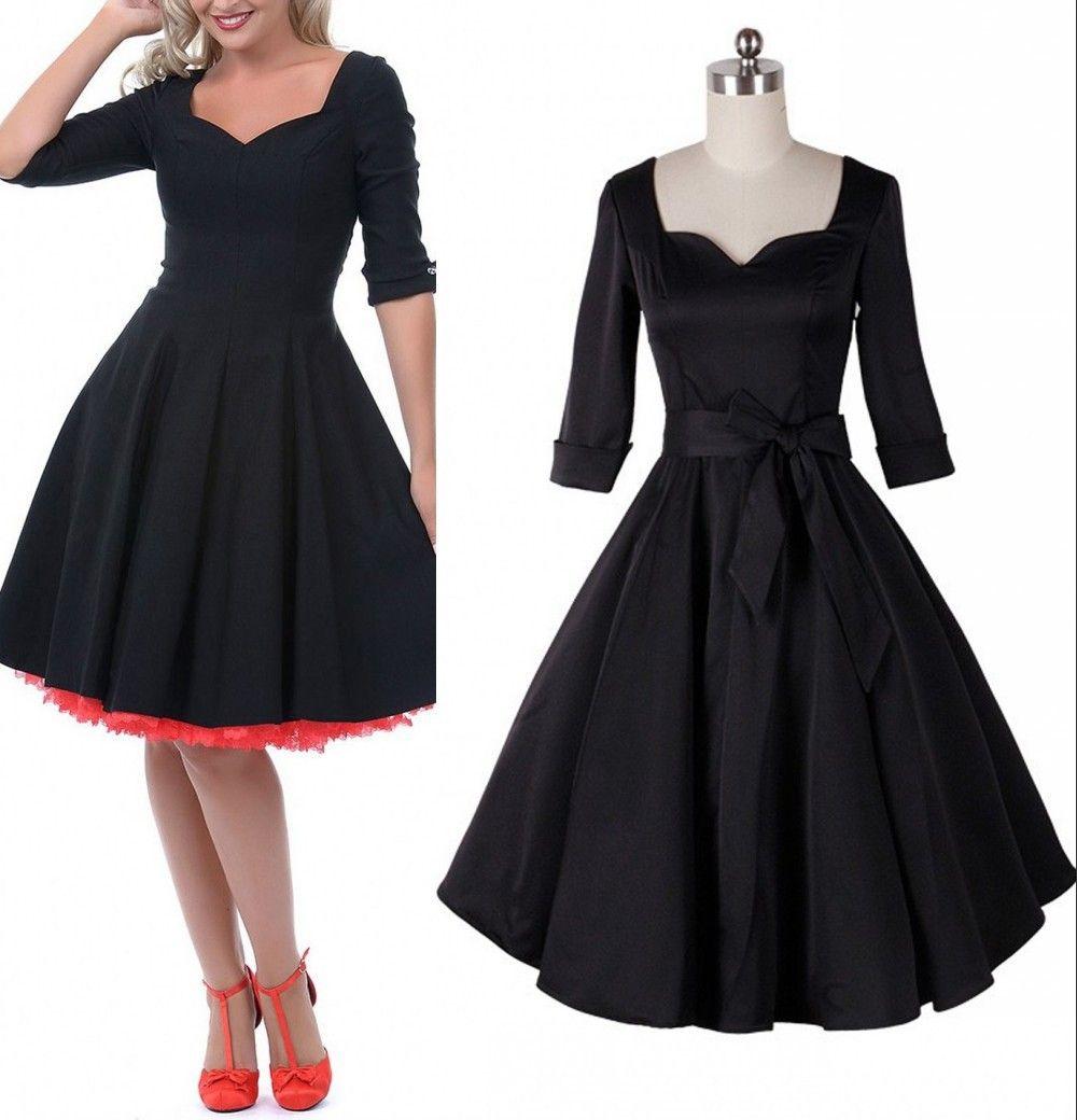 Black dress retro - 2015 Womens Fashion 1950 S Rockability Pinup Vintage Black Swing Party Dresses Square V Neck Half Sleeve Belted Retro Cocktail Party Dresses Flower Summer