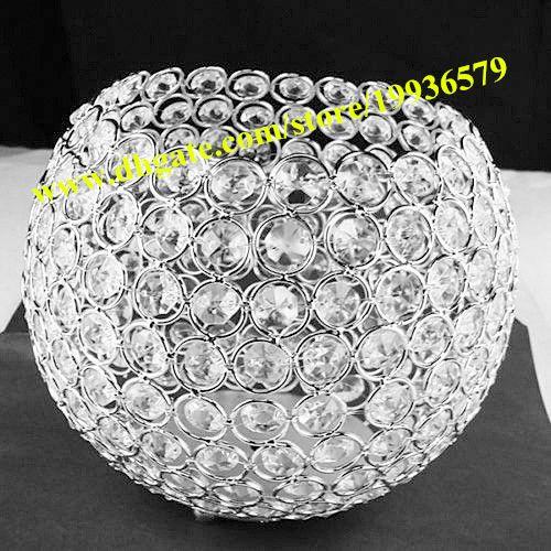 Modern globe ball shape crystal bead candle holder flower stand wedding centerpiece for wedding event plan decoration