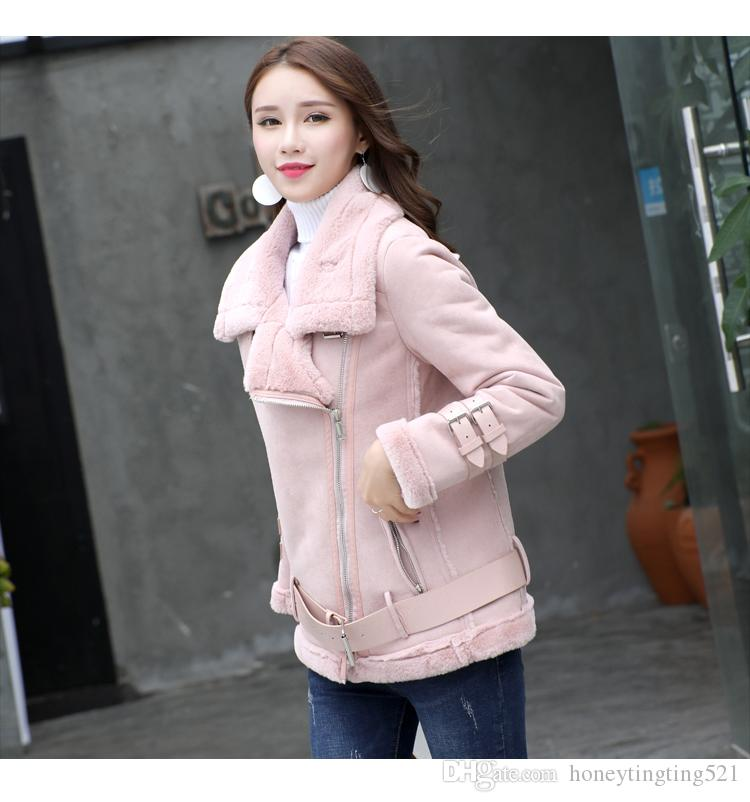 2017 autumn winter new women's thickening warm plus velvet lamb fur suede leather motorcycle coat cool fashion parka casacos jacket