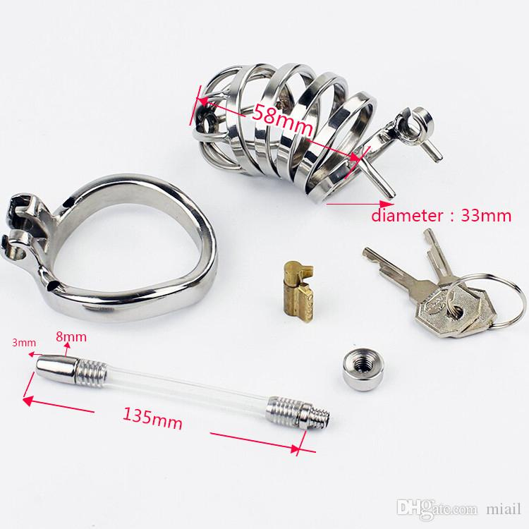 Stainless steel male chastity device with penis plug silicone tube Metal chastity belt cock cage BDSM sex products