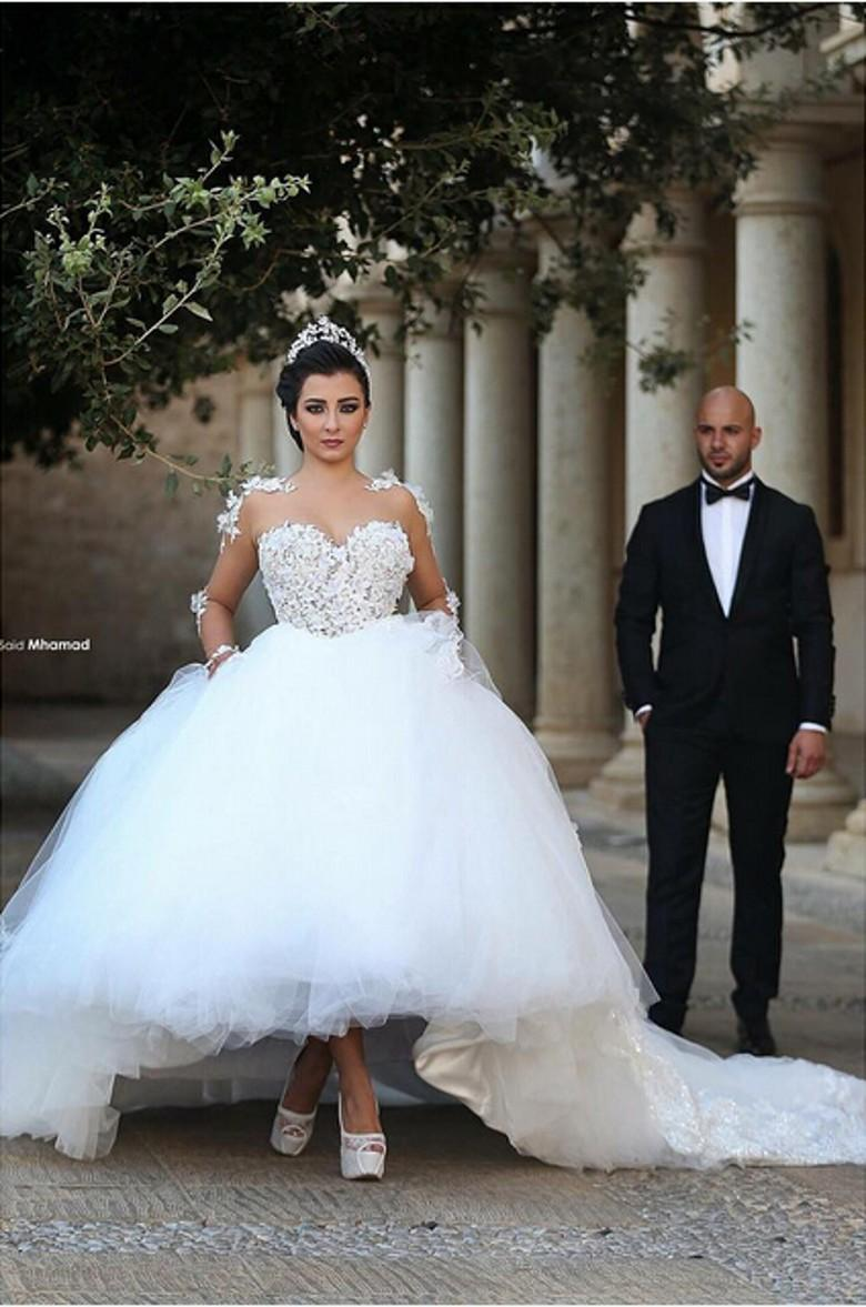 Arabic Said Mhamad Wedding Dresse Appliques Ball Gown