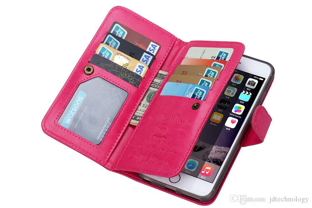 2in1 magnetische abnehmbare abnehmbare Fall Multifunktions-9 Kartensteckplätze PU-Leder Brieftasche Flip-Cover für iPhone 5 s 6 6 s Plus S5 S6 Rand Hinweis 4 5