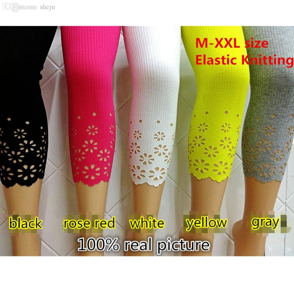 bc1f6b6ee5 2019 Wholesale Summer Style Lady Casual 5 Candy Colors Stretch Elastic Mid  Waist Knitted Cotton Skinny Leggings To Mid Calf Legging Half Pants From  Sheju