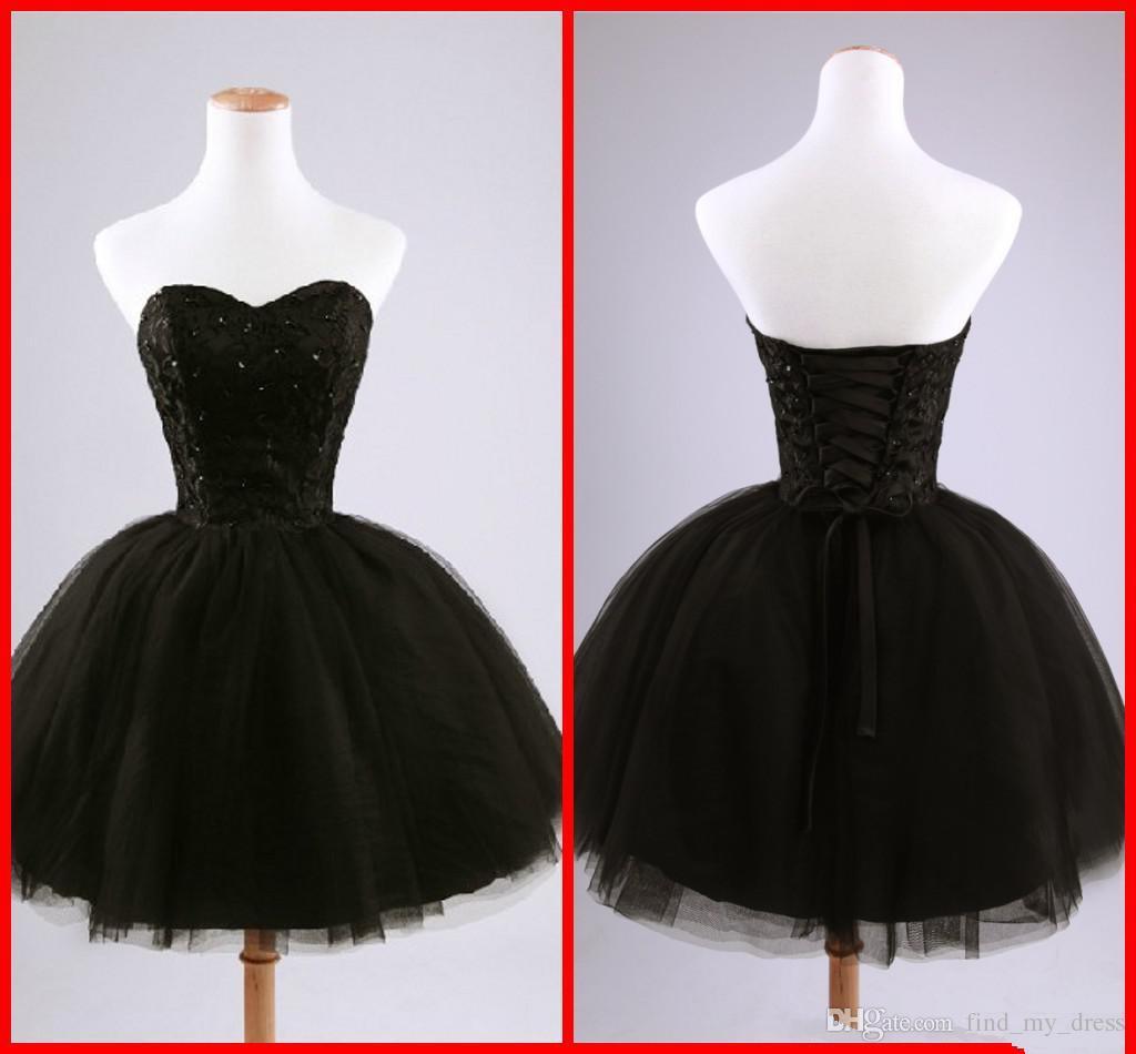 Gerçek Görüntü Siyah Kısa Kokteyl Elbiseleri Sevgiliye Boncuklu Dantel Tül Tie up Geri Balo Mini Parti Elbiseler Balo Abiye Custom Made C50