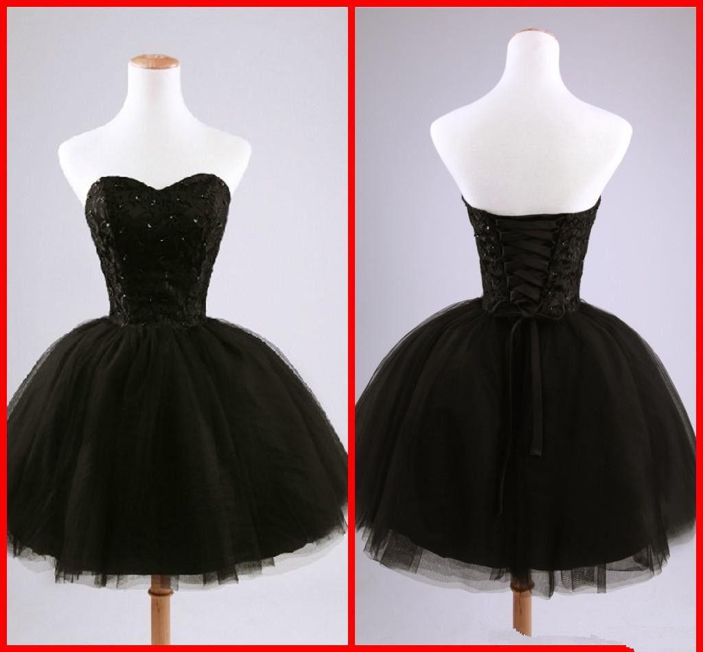 Real imagem preto curto cocktail vestidos querida frisado lace tule tie up vestido de baile mini vestidos de festa vestidos de baile custom made c50