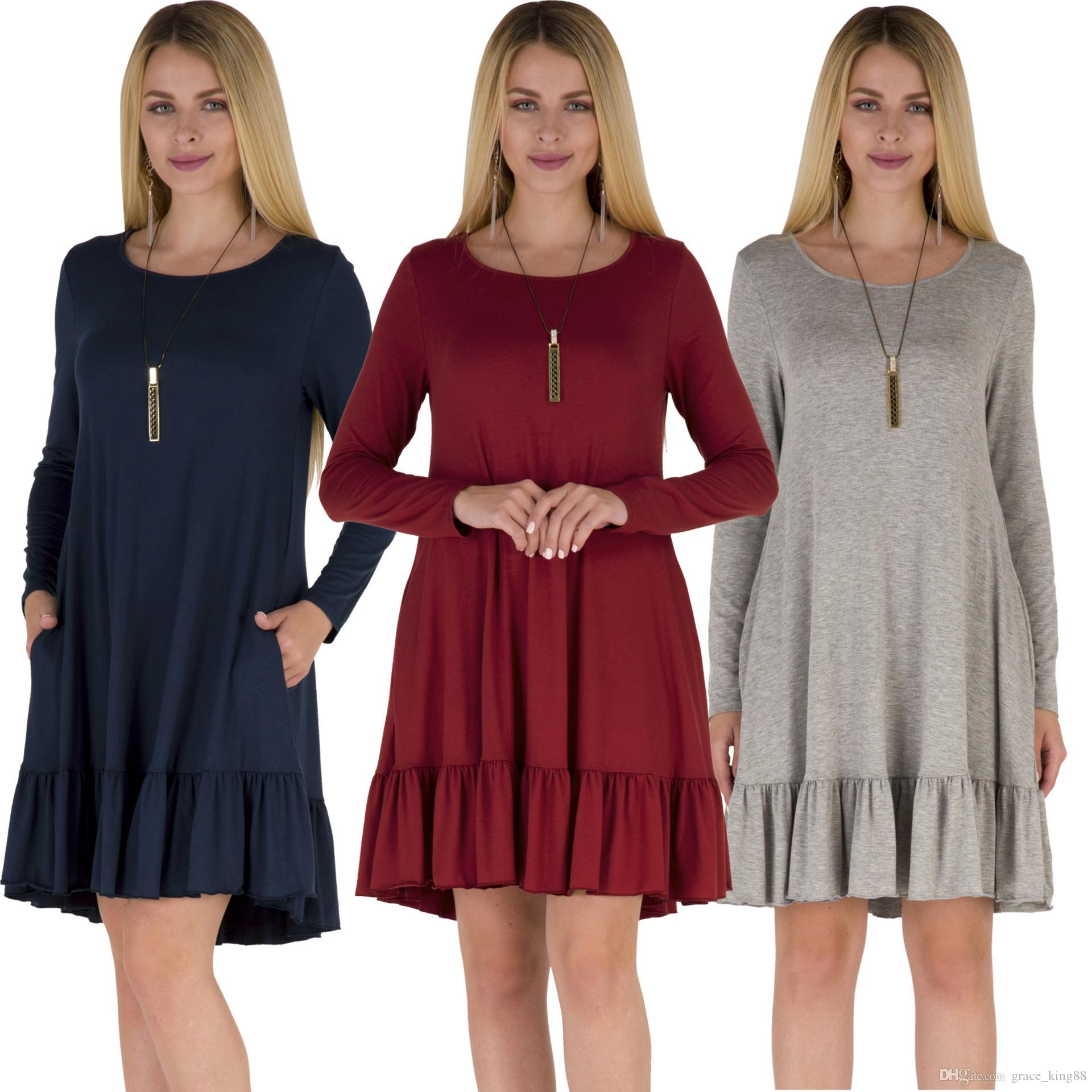 3ff78938a8b Autumn Winter Women S Plus Size Dress XL S Long Sleeve Cotton Casual Loose  Dress Long Sleeve T Shirt Dress Dress For Cocktail Party Long Striped Dress  From ...