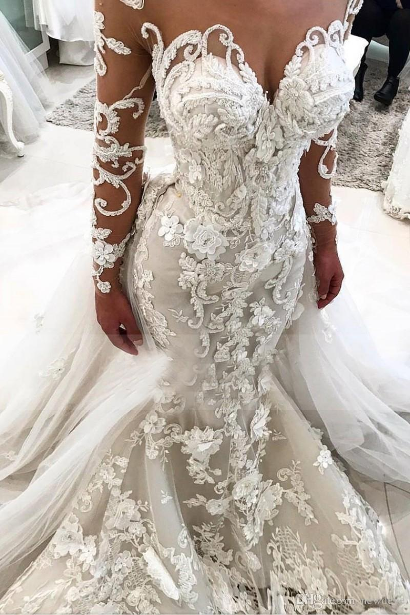 Sereia de luxo Vestido de Noiva Com Flores 3d Sheer Neck Vestido De Novia Mangas Compridas Plus Size Vestidos de Noiva
