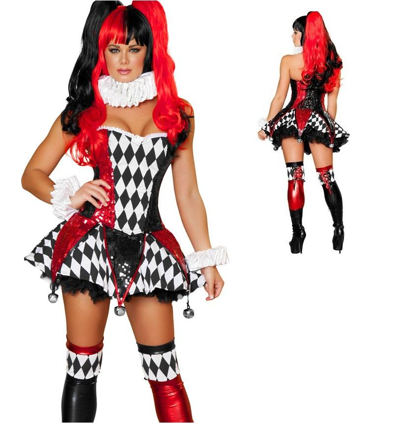 hot sale adult clown costumes for women circus clown halloween costume stage clothing classic sexy harley quinn costume teenage group halloween costumes - Girl Clown Halloween Costumes