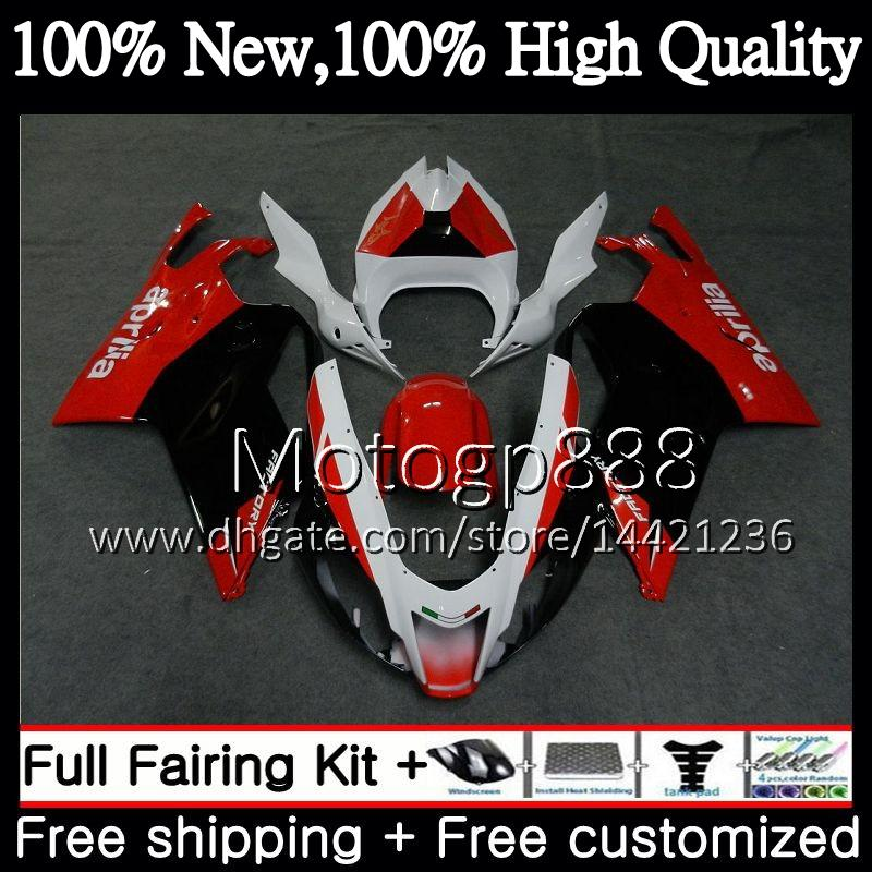 Corpo para Aprilia Vermelho branco preto RSV1000R RSV1000 Mille RR 03 04 05 06 2G815 RSV1000 RSV 1000R 2003 2004 2005 2006 Motocicleta Fairing Carroçaria