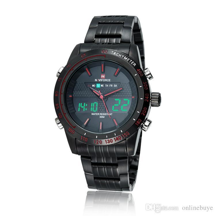 Naviforce hombres de moda relojes de acero lleno de cuarzo horas reloj analógico reloj LED digital Deportes Militar relojes de pulsera envío de la gota