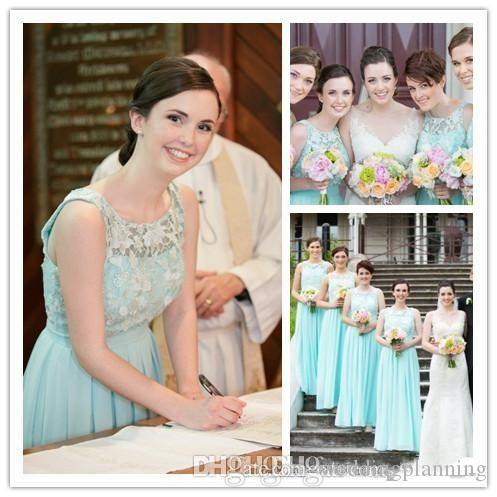 Mint Green Bridesmaid Dresses Long Jewel Lace Appliques Pleats Chiffon Bridesmaid Dresses Cheap Fast Delivery Formal Dress Party Gowns