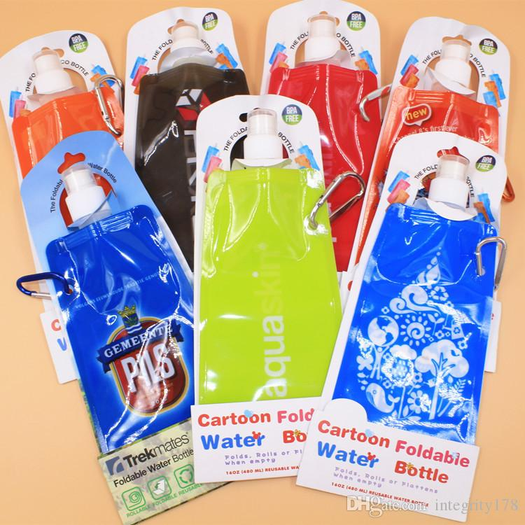 480 ML foldable water bottle. English paper card installed folding bottle.Portable outdoor sports travel bag.