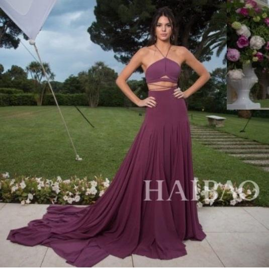 Sexy celebrity evening dresses Red carpet dresses Formal simple Halter V neck Fuchsia Cocktial Party Evening gowns