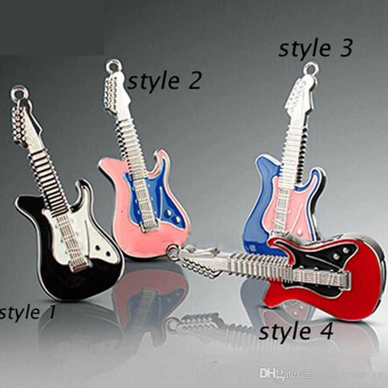 2015 Rock and roll electric guitar shape 64GB 128GB 256GB USB Flash Drive music pen drive metal pendrives memory stick DHL ship