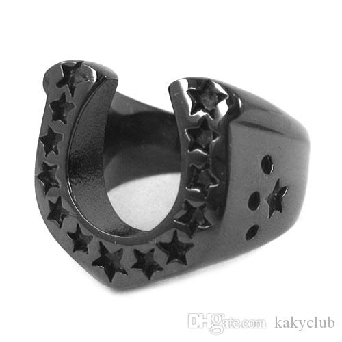 Stainless Steel 2 Color Star Lucky Horseshoe Biker Ring