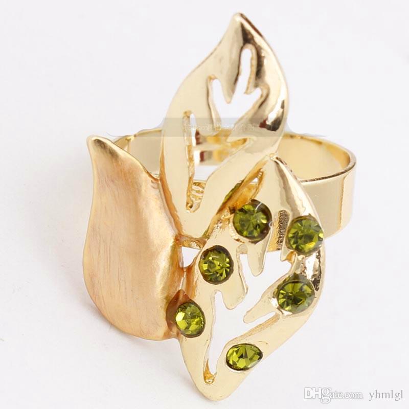 Moda Vintage Yaprak Tasarım 18 K Altın Kaplama Avusturyalı Kristal Kolye Kadınlar Için Bilezik Yüzük Küpe Takı Seti Düğün Hediyesi