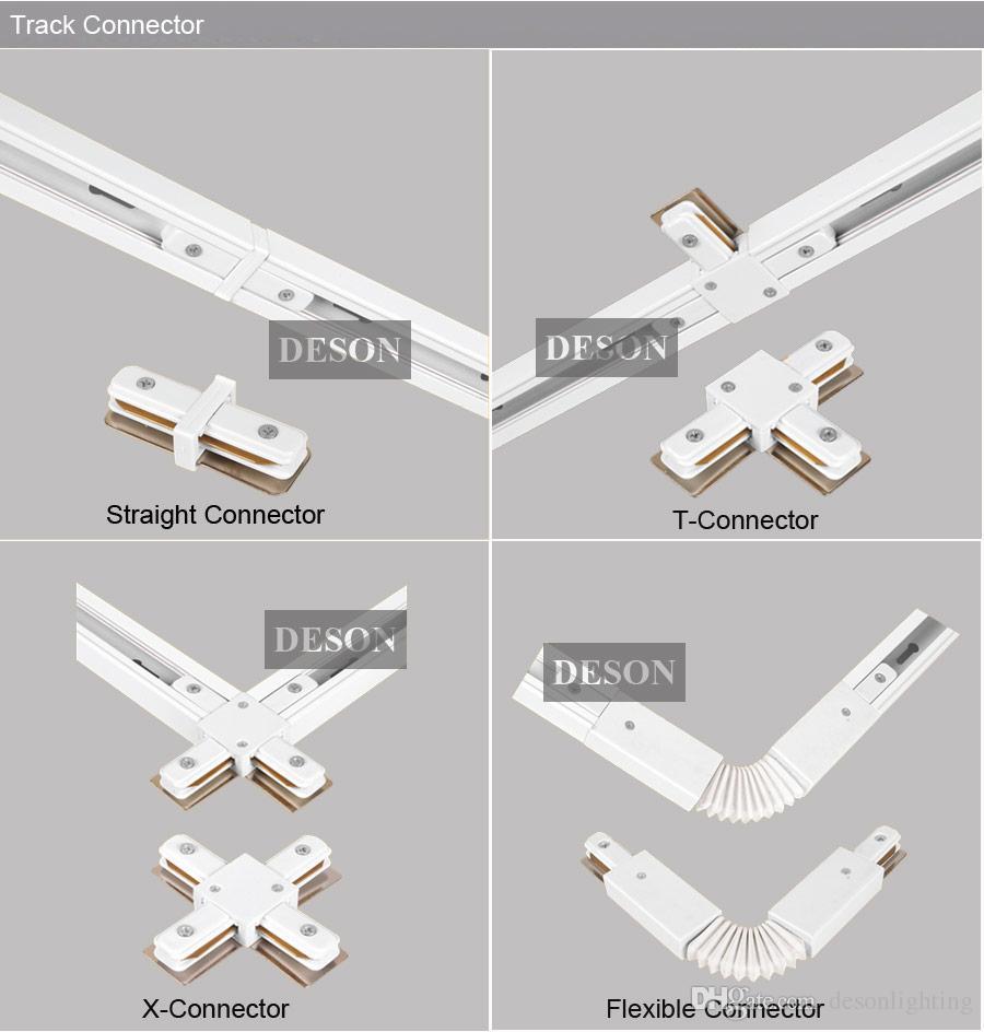 DHL 1M LED Light Track Rail Bar Alluminio Universale Spot Rail Lamp T Sistema di illuminazione a binario Kit Rails 1 Phase Circuit 2 Wire White Black