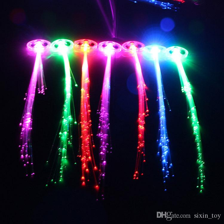 Cool Party Blink Hair Clip Flash Light Up LED Braid Show Party Decoration Colorful Luminous Braid Optical Fiber Wire Hairpin