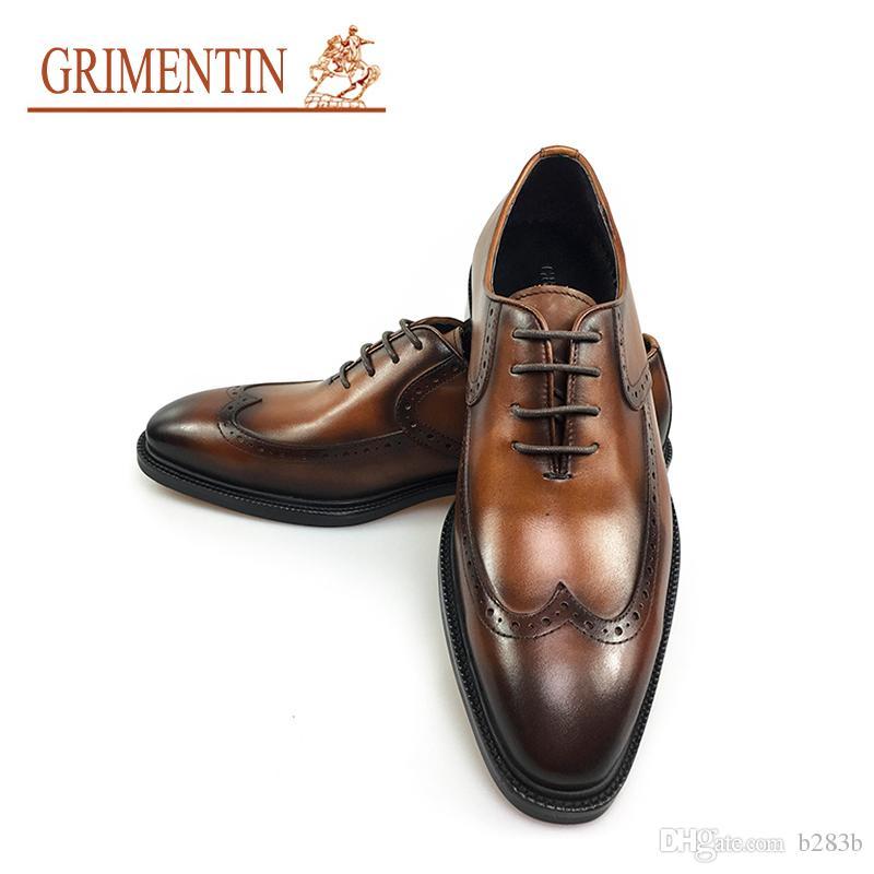 eea151f0076d4 GRIMENTIN Men Shoes Italian Handmade Mens Dress Shoes Genuine Leather  Comfortable High Quality Wedding Men Shoes 2018 Size 38 44 2JM1 Summer Shoes  Womens ...