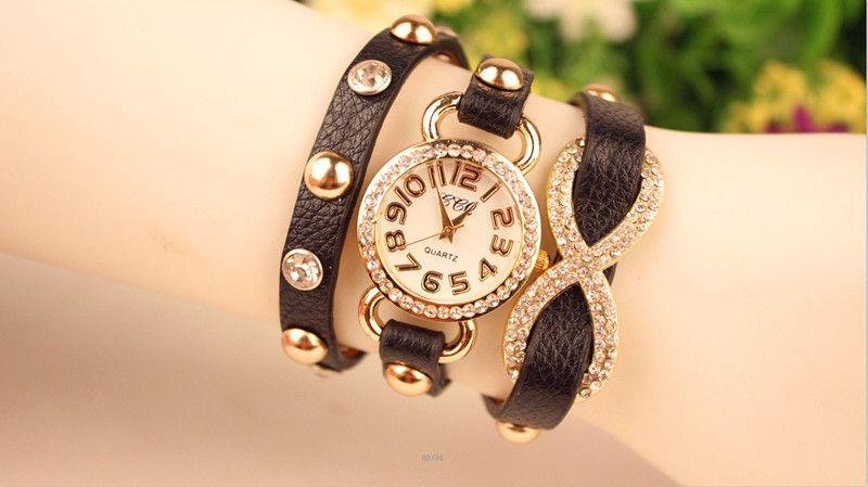 Sıcak Wrap Moda Kadınlar Lady Bilek Saatler Elmas Durumda Büyüleyici Bilezikler Saatler Mix Renkler Bırak Ücretsiz Nakliye