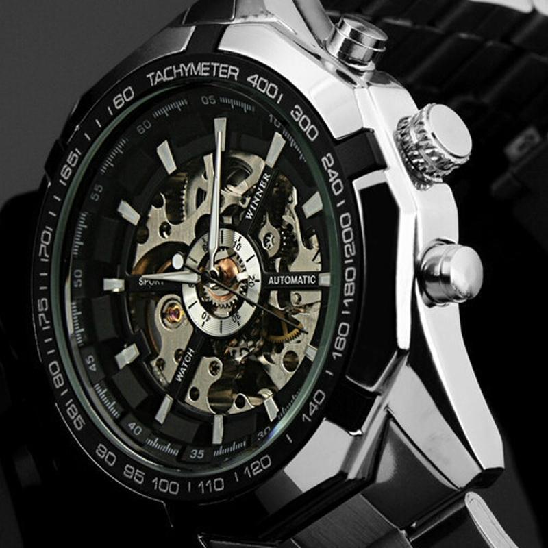 35229741ee4 Compre Hot 2018 Vencedor Luxo Marca De Luxo Homens Esporte Automático  Esqueleto Militar Mecânica Assista Homens De Aço Inoxidável Completa Banda  Reloj De ...