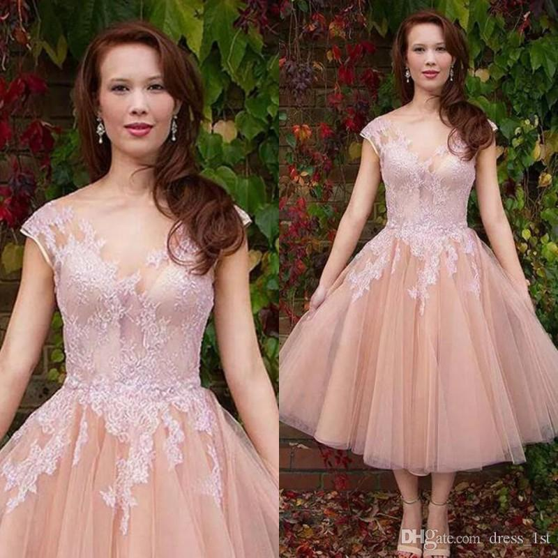 fa093d434527d Discount Elegant 2017 Peach Lace And Tulle Vintage Tea Length Wedding  Dresses Cheap V Neck Ruched Short Beach Bridal Gowns Custom Made EN11035  Classic A ...
