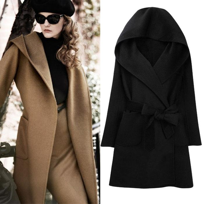 2017 4106 Winter Women Wool Coat Belt Hooded Long Sleeved Cashmere ...