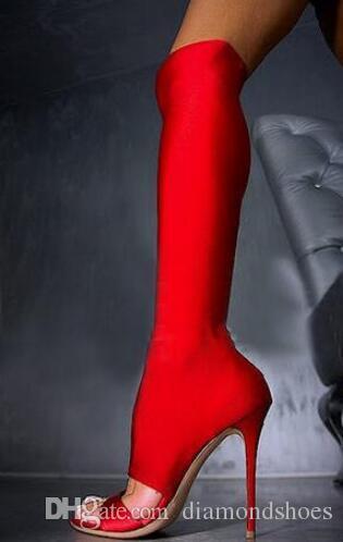 2017 Mulheres Joelho Botas Altas Tecido Elástico Bundinha Oco out Fino Salto Alto Peep Toe Mulheres Elastic Botas Cinza Preto e Vermelho