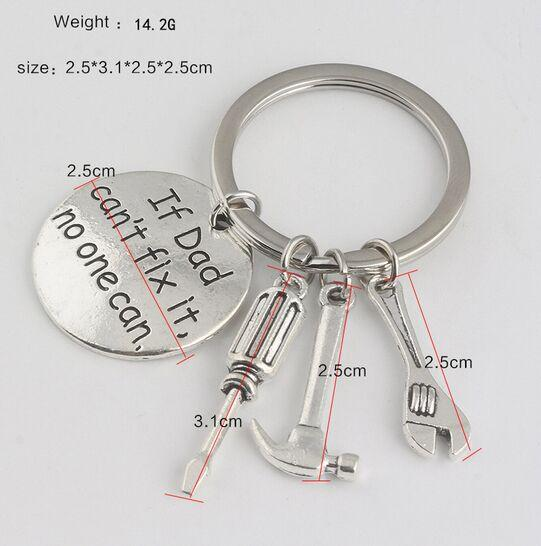 If Dad Can't Fix It No One Can Keychain Keyring Keyfob - Hammer Screwdriver Wrench Dad Father Key Chain Ring Charm Bag Pendant