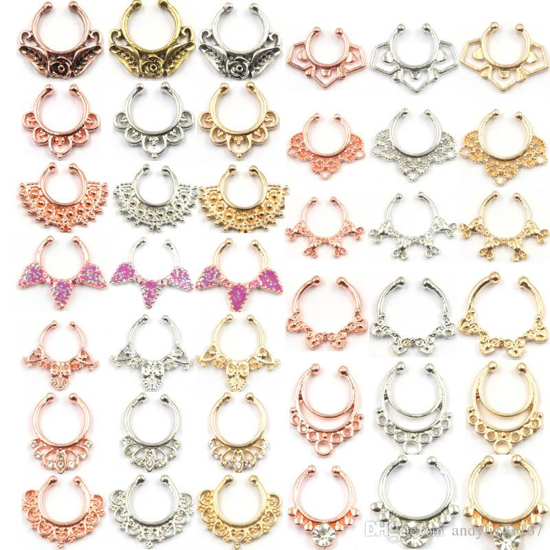 2015 Hotselling New fake nose Rings and studs indian Piercing septum clip silver hoop ring for Women body jewelry N0058