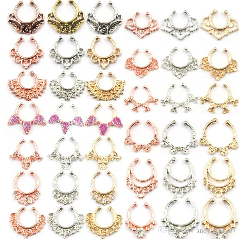 Hot sale crystal fake septum nose ring piercing clip on body jewelry faux hoop nose rings for women N0064