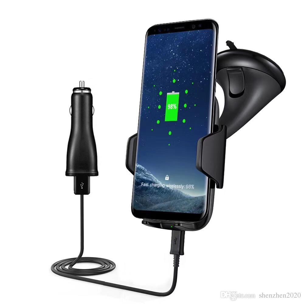 Wireless Ladegerät Auto Mount Vehicle Qi Wireless Ladestation für Samsung Galaxy s7 Rand s8 plus note8 iphone 8 X mit Paket 2017 2018
