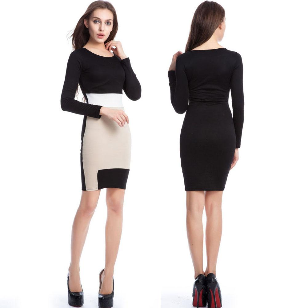 Black dress office - Career Dress Women Business Dress Formal Office Dress Work Wear Pencil Dress Round Collar Neck Long Sleeve Patchwork Stretchy Straight Dress