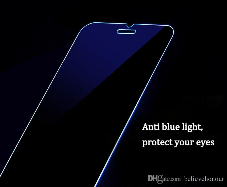 Mobile phones Anti blue light Protect eyes temper glass for iphone 8 7 6 6S 6S plus Non full screen explosion proof 9H screen