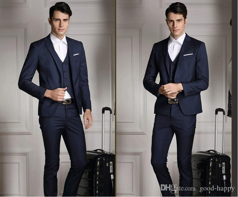 Hot New Design Royal Blue Slim Fit Groom Tuxedos Menu0026#39;S Wedding Dresses Prom Clothing Jacket ...