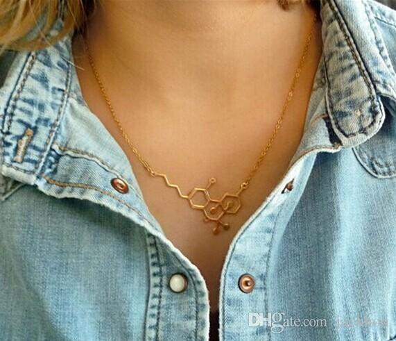 5 ADET Altın Gümüş Basit Molekül Kolye Moleküler Yapısı Kolye Hormon Eleman Kolye Bilim DNA Dopamin Kolyeler