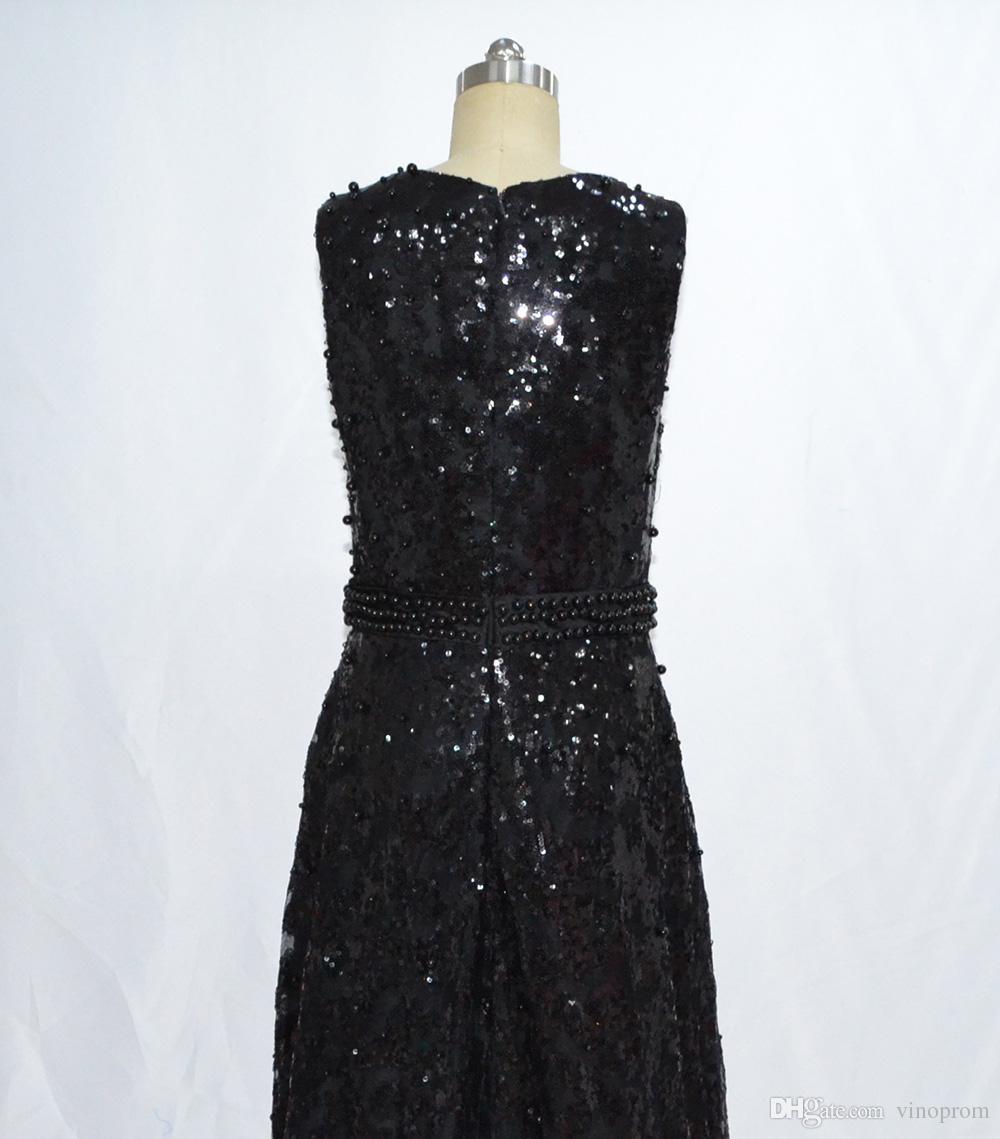 Vestido De Formatura Longo Real Photo Guaina Scoop in rilievo Black Prom Evening Abiti celebrità formale in vendita