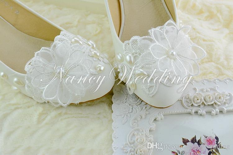 Jesień Koronki Kwiat Piękny Druhna Biała Średnia Heel Suknie Ślubne Buty 2 cale Buty ślubne Lady Formalne Sukienka Buty