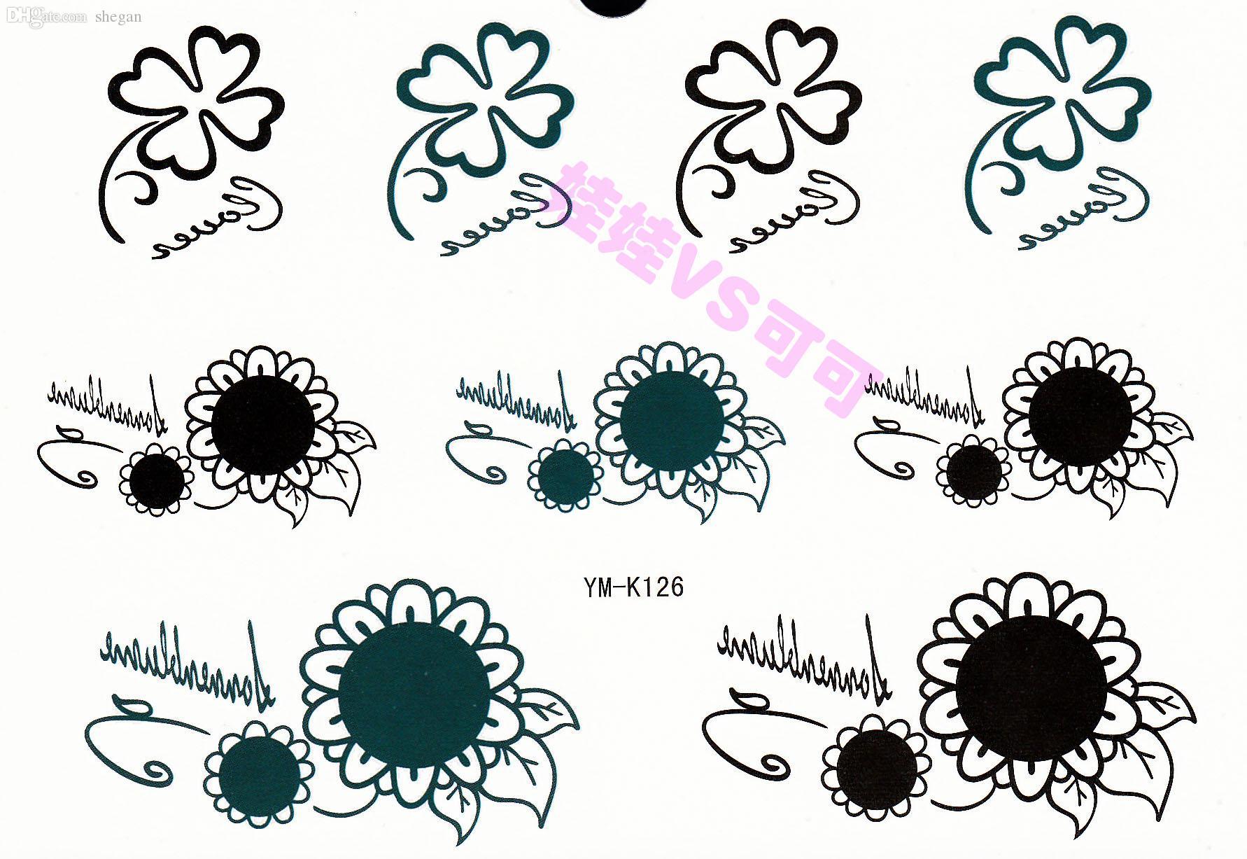 wholesale four leaf clover sunflower tattoo stickers waterproof