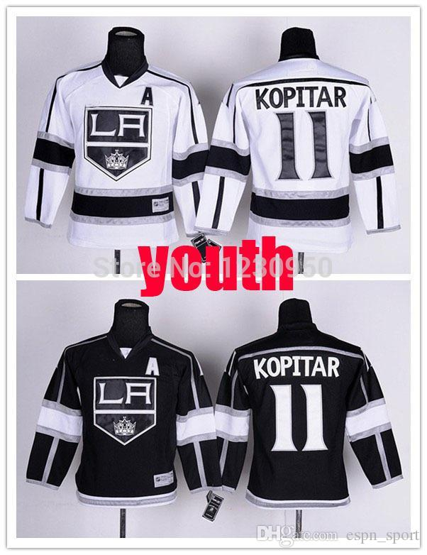 2019 2015 Youth LA Kings Jerseys  11 Anze Kopitar Jersey Kids Los Angeles  Kings Home Black Road White ICE Hockey A Patch From Espn sport 3ce61031e