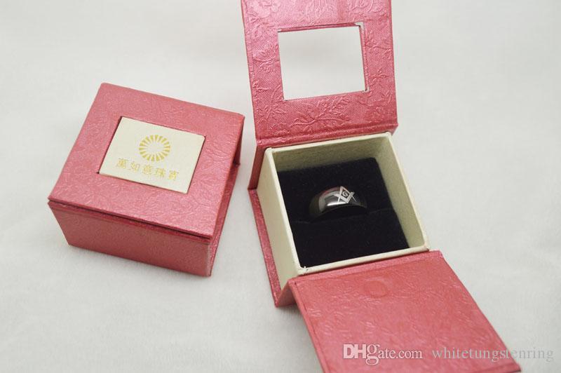 Masonic Tungsten Ring Black Plated High PolishedTungsten Ringar Wedding Ring, Engagement Rings
