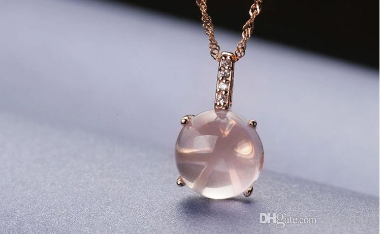 925 Sterling silver Fashion jewellery Rose gold Natural QUARTZ pink crystal pendant necklace for women