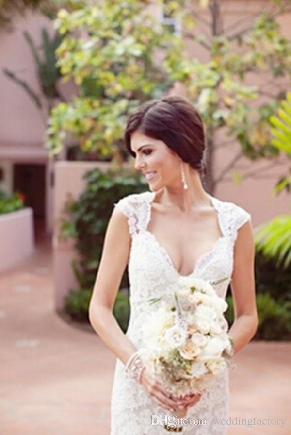 Sexy backless trouwjurken schede open rug tuin bruidsjurken strand bruiloft sweetheart halslijn cap sleeves op maat gemaakt
