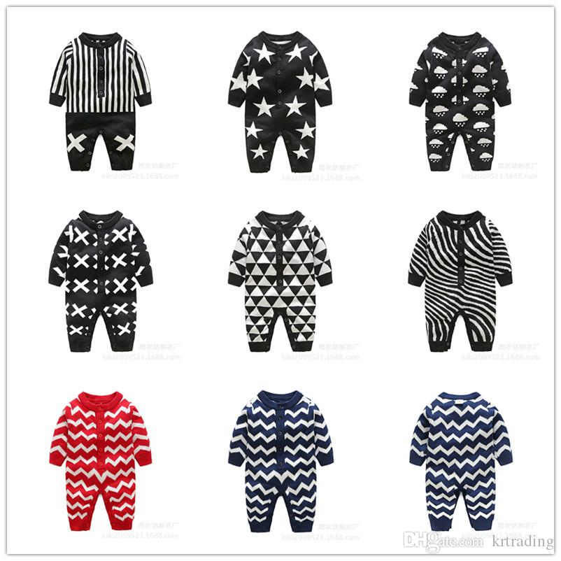 2018 Baby Cute Knitted Onesie For 0 1t Toddlders Geometric Pattern