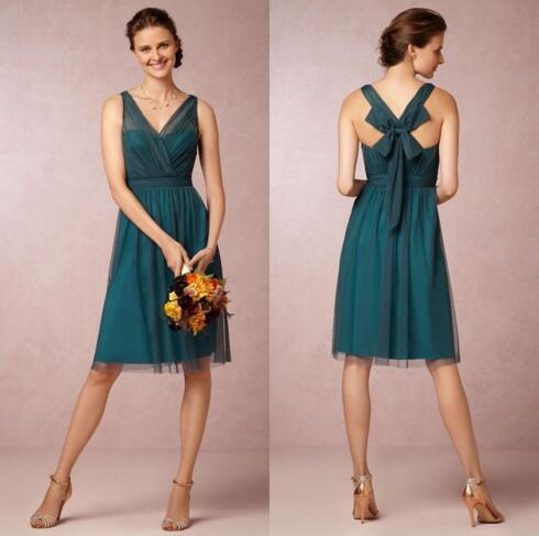 Cheap A Line V neck Knee Length Teal Color Bridesmaid Dresses Short VintageTulle Satin Bow Cocktail Party Gowns