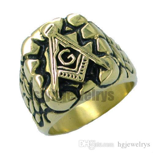 ! Gold Plated Masonic Ring Stainless Steel Jewelry Ring Classic Freemasonry Ring Masonic Ring SJR0010GB